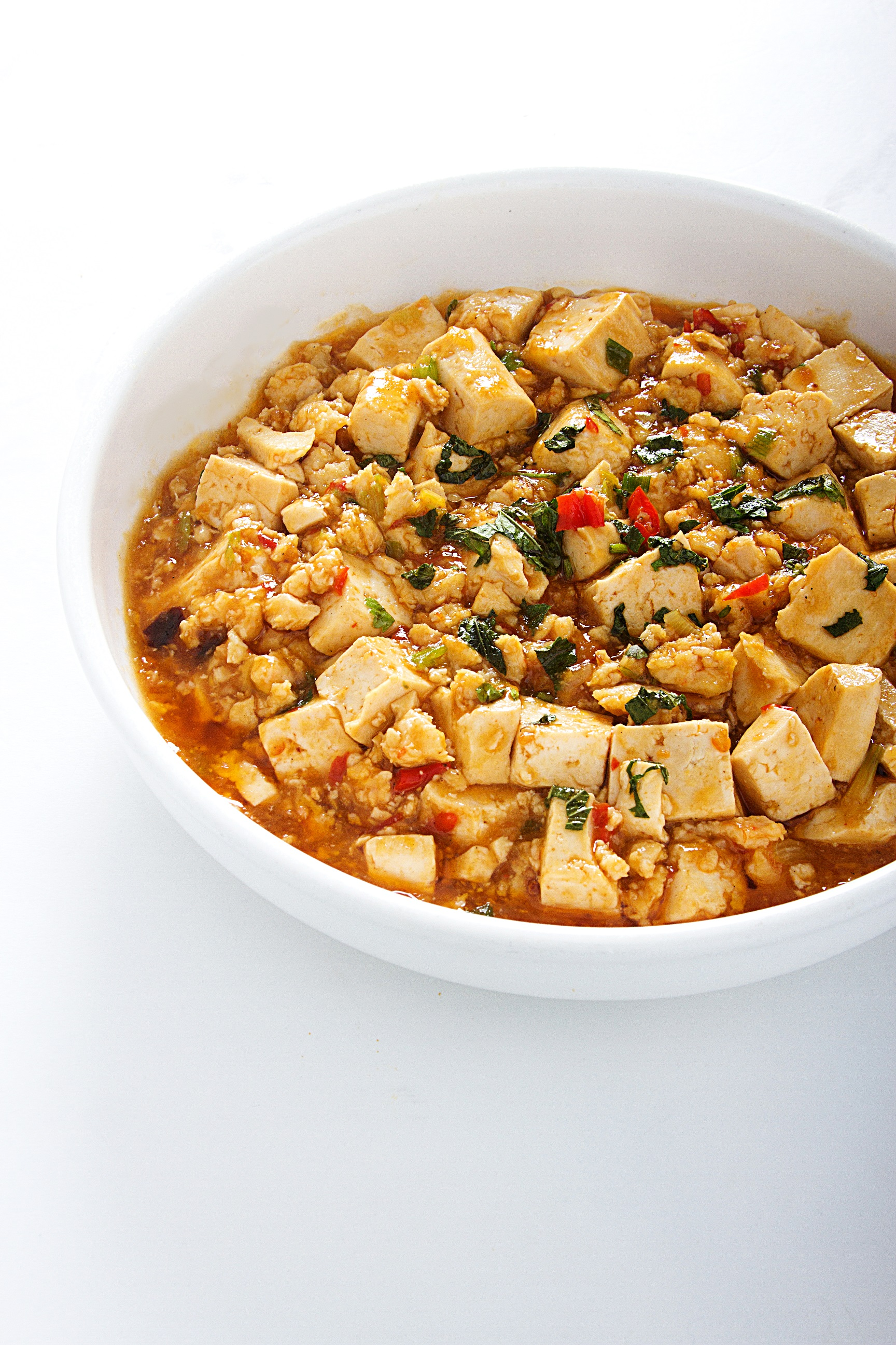 Tofu con carne con un toque picante.