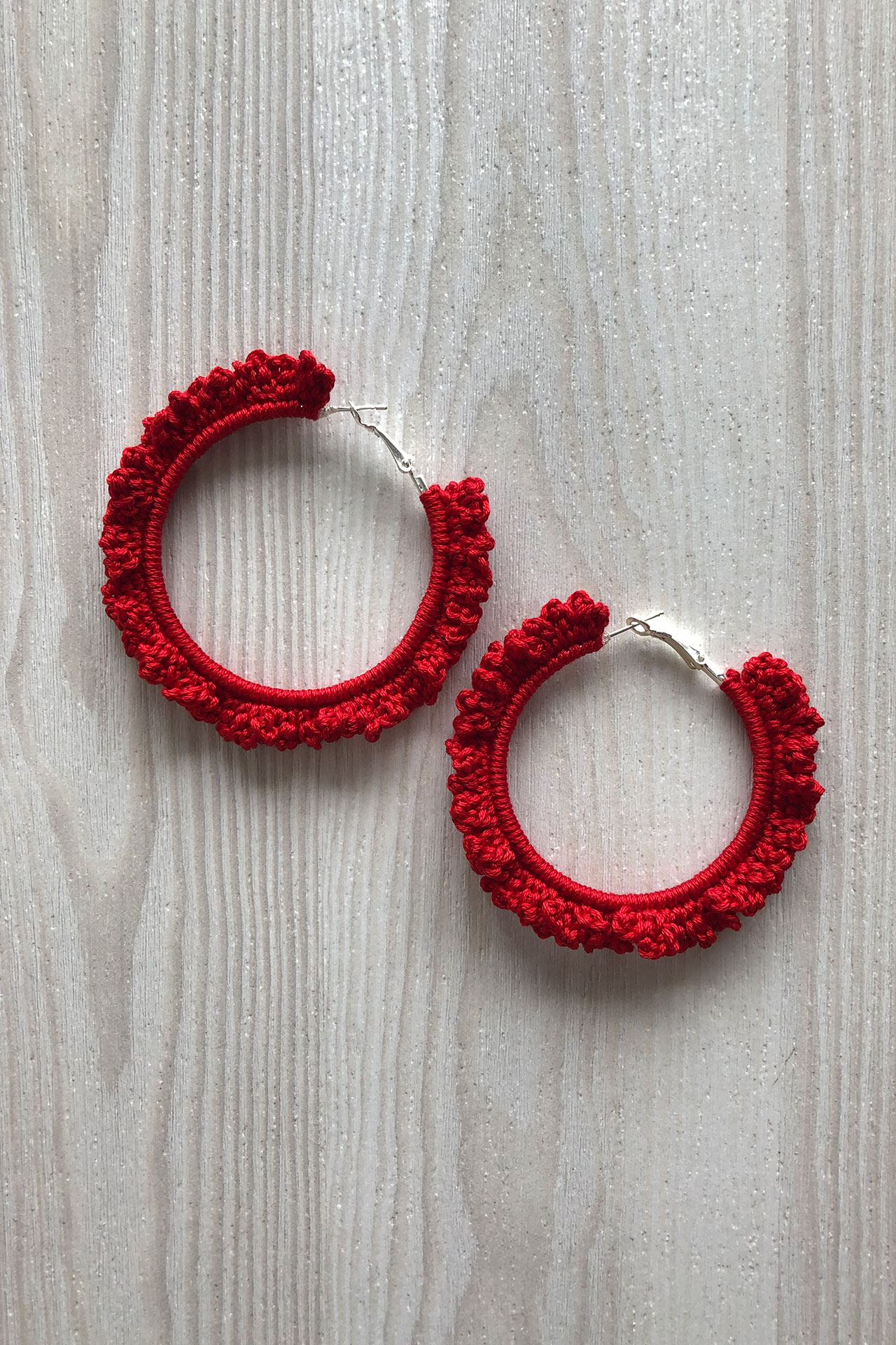 Argollas de crochet hechas a mano,