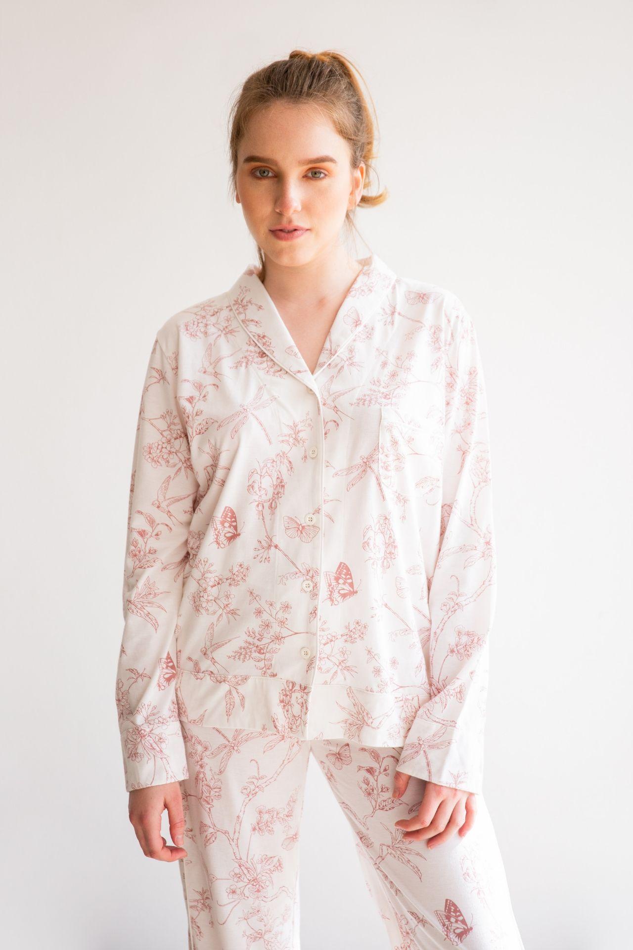 Pijama de algodón de 2 piezas pantalón y camisero manga larga ROSA.