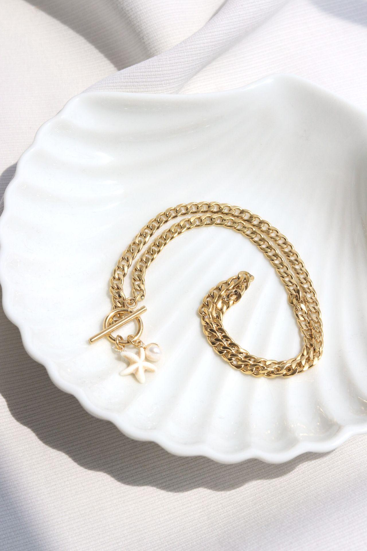 Collar Marina con Estrella y Perla  - Material: Acero  - Largo del collar: 42cm