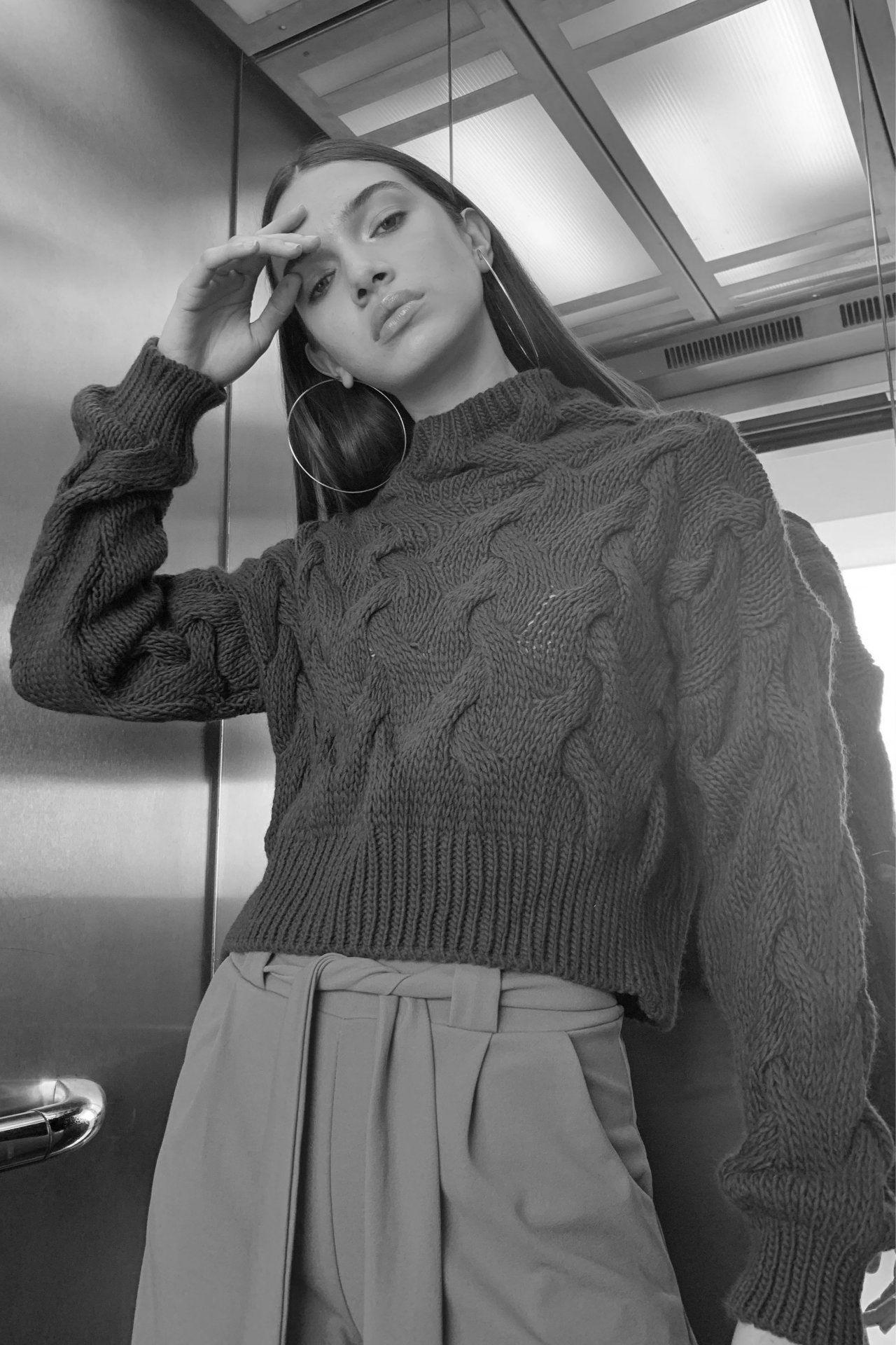 Sweater cuello alto, cropped y tejido trenzado.         Made in Italy                                                 Material & cuidado 85% Acrílico 15% Poliester Lavar en agua fría a mano  Medidas:  Cintura: 48 cm  Largo: 50 cm