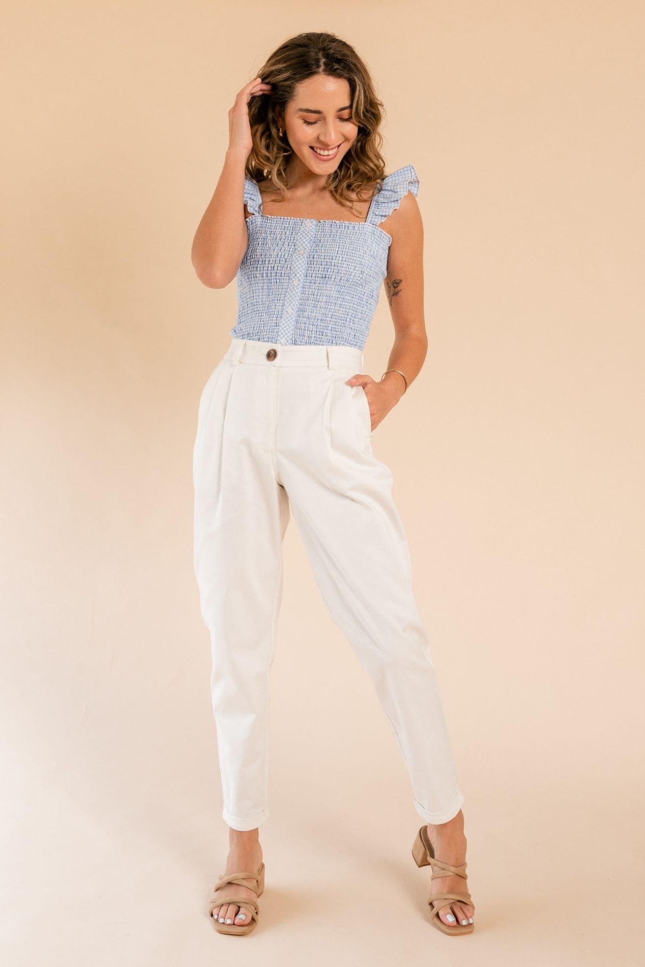 Pantalon slouchy drill  Elastico en la cintura para regular al cuerpo