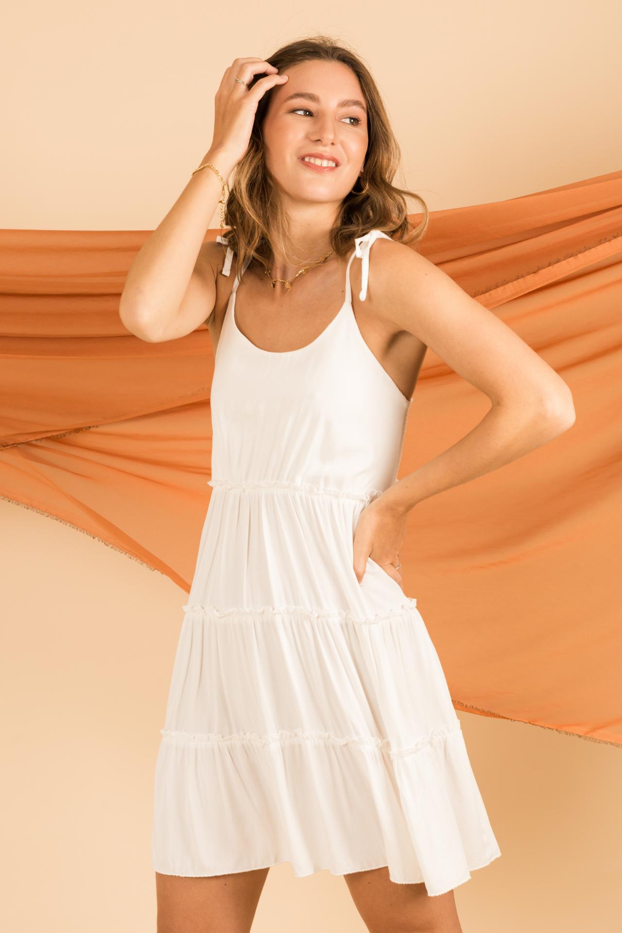 Vestido corto  Multiaguja en la espalda  Material: rayon  Contorno de busto hasta 97 cm  Largo: 86 cm desdel el hombro