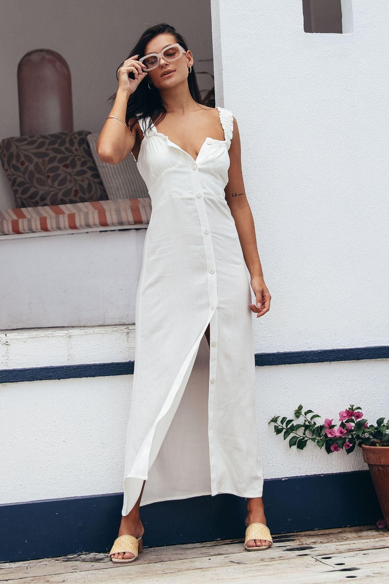 vestido largo con elastico espalda y botones adelante lino strech