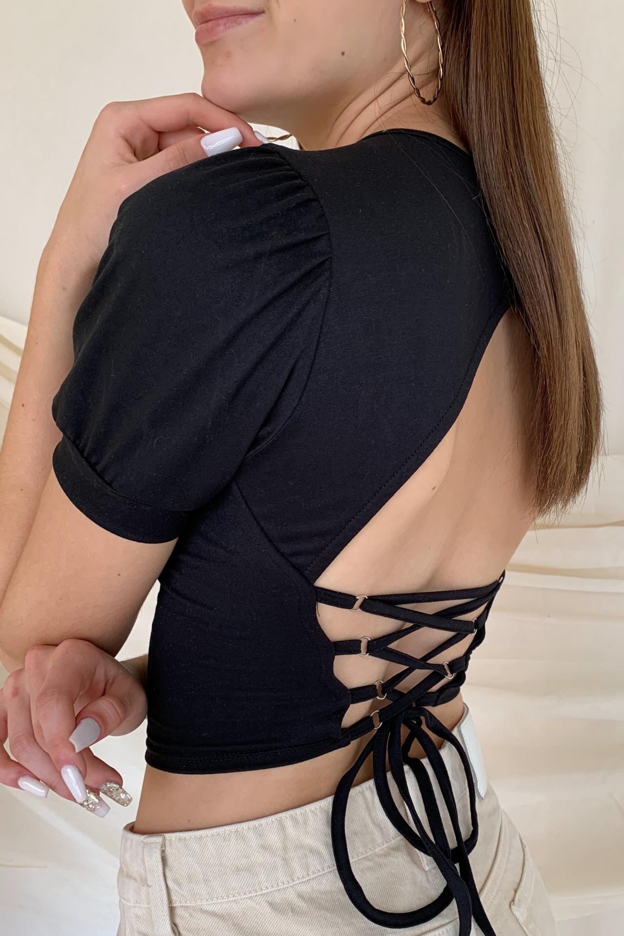 Top con lace up en la espalda. Tela Piel de Durazno  Contorno de busto: Hasta 90 cm  Largo: 40 cm