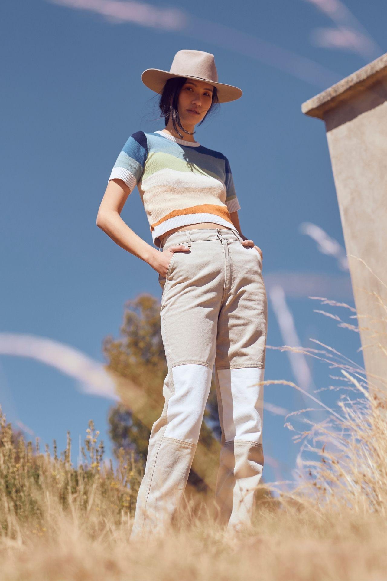 Pantalón bicolor en 100% algodón.